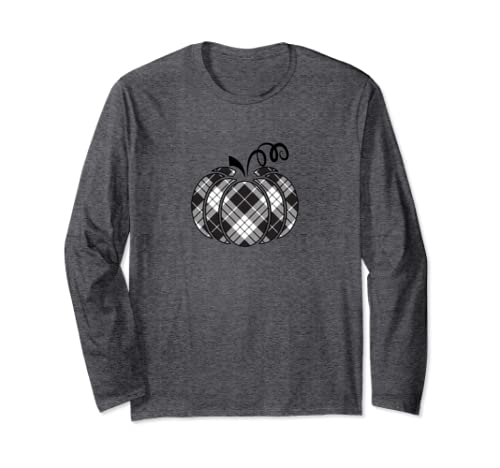 Trendy Fall Black And White Buffalo Plaid Pumpkin Long Sleeve T Shirt
