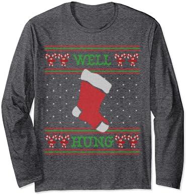 Funny Christmas Shirt Well Hung Ugly Christmas Sweater Holiday Shirt Milk and cookies for Santa Stockings shirt
