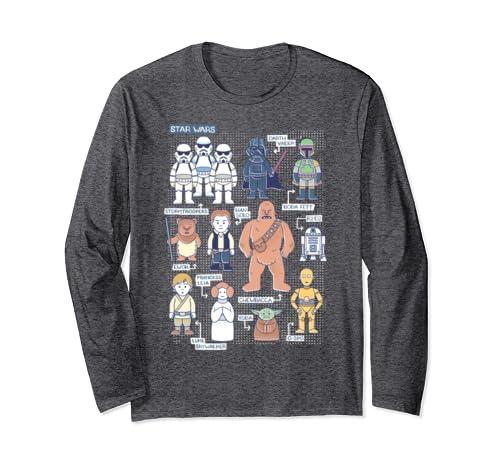 Star Wars Group Shot Character Drawing Long Sleeve T Shirt