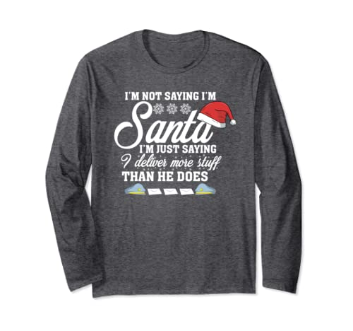 b5f8c5a27 Amazon.com: Santa Delivery Shirt Funny Christmas Postal Worker Mailman:  Clothing