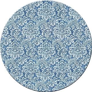 Hadley Table Damask Denim Hard Placemats, Round, Set of 4