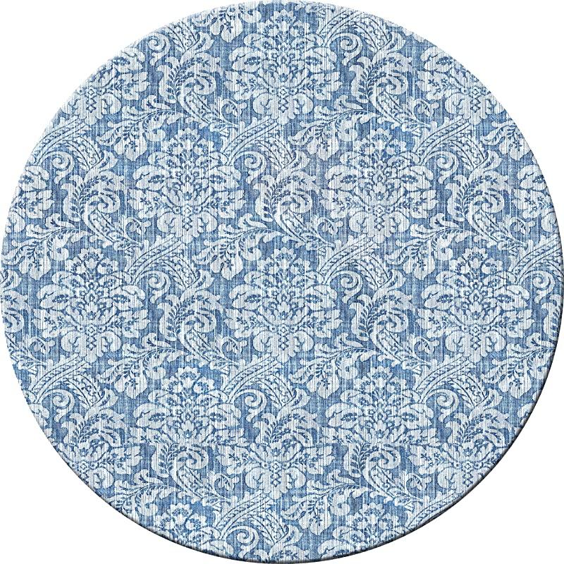 Hadley Table Damask Denim Hard Placemats Round Set Of 4