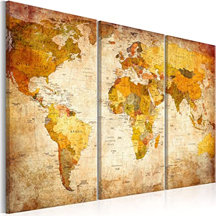 murando - Weltkarte Pinnwand 120x80 cm Bilder mit Kork Rückwand 3 Teilig Vlies Leinwandbild Korktafel Fertig Aufgespannt Wandbilder XXL Kunstdrucke Landkarte k-B-0020-p-a