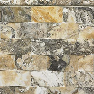 Squarefeet Depot 2x4 Wavy 3D Effect Antique Onyx Travertine Mosaic Tile Backsplashes Walls