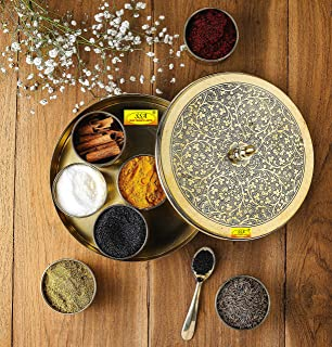 Shiv Shakti Arts 'Floral-Etched' Handcrafted Brass Spice Box Set For Kitchen With spoon (7 Containers, 50 ML) - Brass Masa...