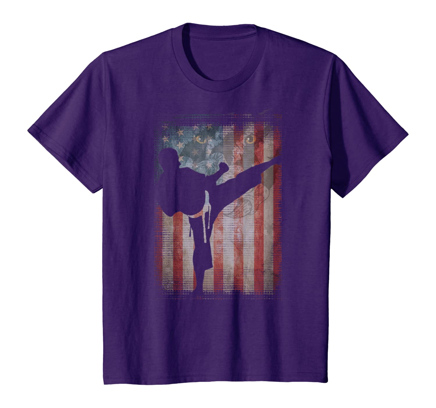 Vintage Flag American Karate lovers gifts friends family T-Shirt