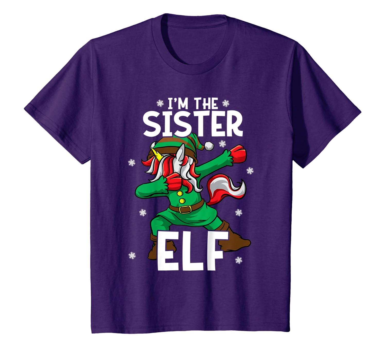 I'm The Sister Elf Unicorn Big Sister Family Christmas T-Shirt