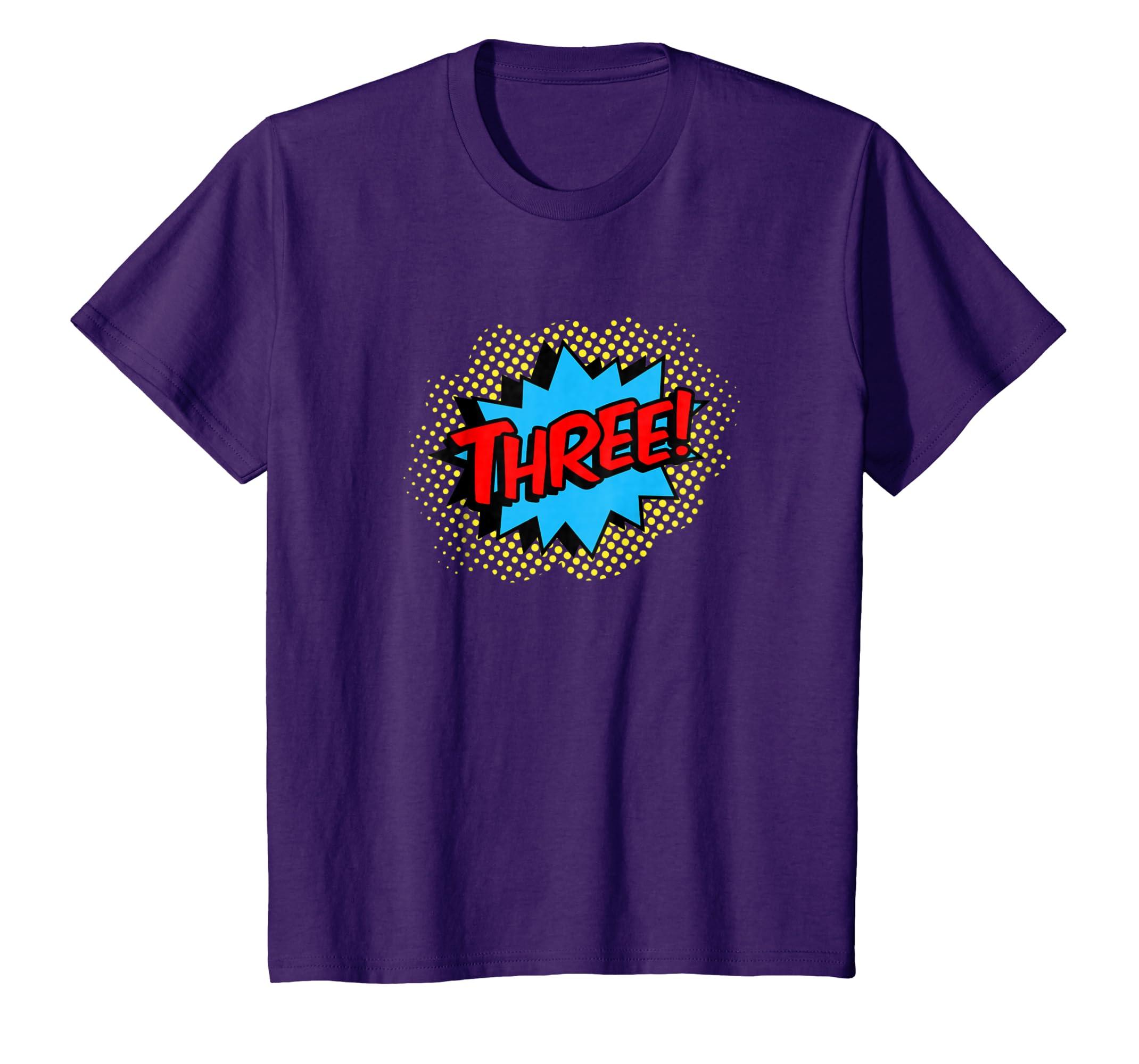 Amazon Kids Happy 3rd Birthday THREE T Shirt For Boys Girls 3 Yrs Old Clothing
