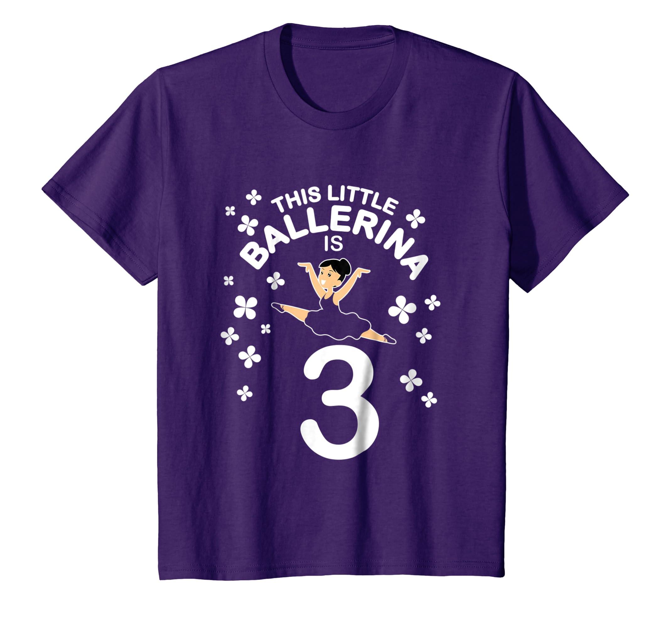 82c009f0893f Amazon.com  Kids 3rd Birthday Girls Ballerina T-Shirt Dance 3 Year ...