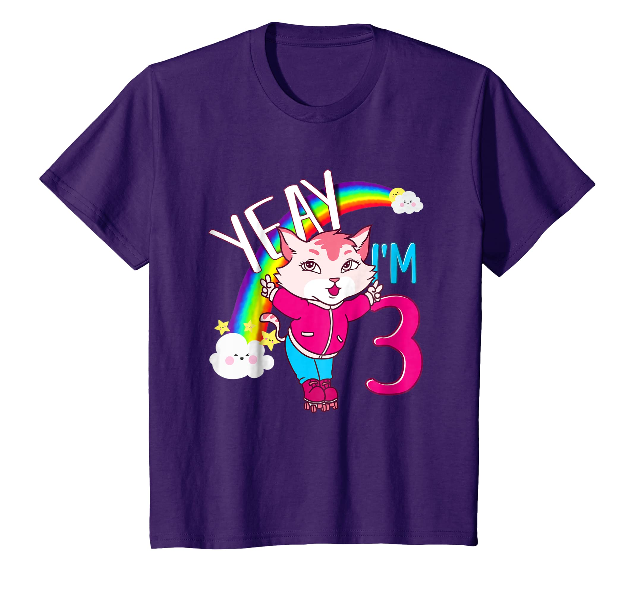 Amazon Kids Yeah 3rd Birthday Roller Skate Cat T Shirt Cats Girl Gift Clothing
