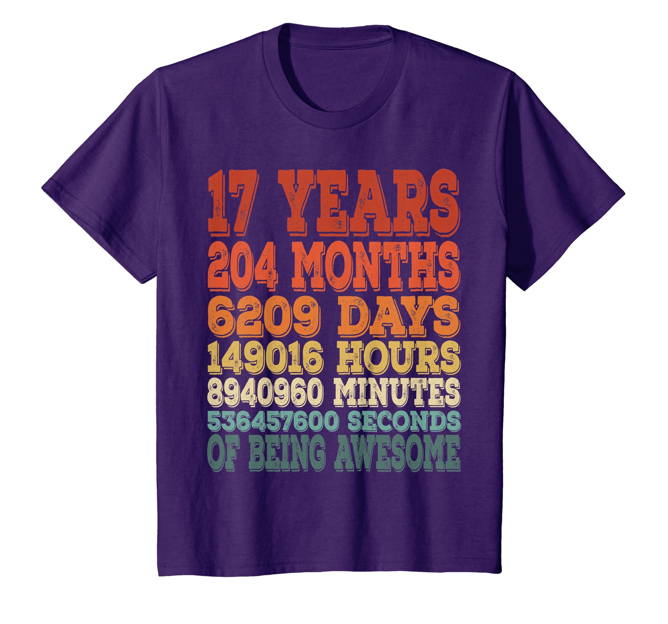 Amazon 17 Bday Shirt 17th Birthday Gift Ideas Years Old Clothing