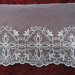 "Ivory 5 Yards Premium 4"" Width Unique Embroidered Cross Mesh Netting Lace Trim Bridal Accessories Christian Wedding Heirloom Sewing Christening Fabric Ribbon DIY Veils Craft"