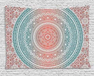 Ambesonne Teal and Coral Tapestry, Ombre Mandala Art Antique Gypsy Folk Pattern Mystical Cosmos Image, Wide Wall Hanging for Bedroom Living Room Dorm, 60