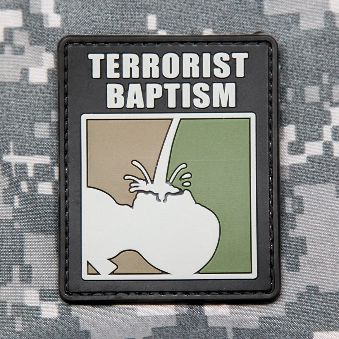 NEO Tactical Gear Terrorist Baptism - PVC Morale Patch, Hook Backed Morale Patch