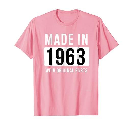 Amazon.com: Fabricado en 1963 playera Born en 1963 camisa ...
