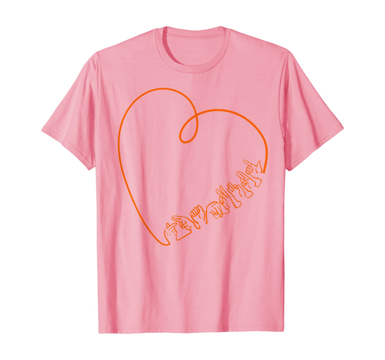 Thankful ASL Sign Language Heart Line Cute Gift for Women T-Shirt