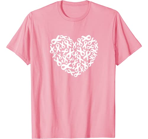 Breast Cancer Awareness Pink Ribbon White Heart Survivor Tee T Shirt
