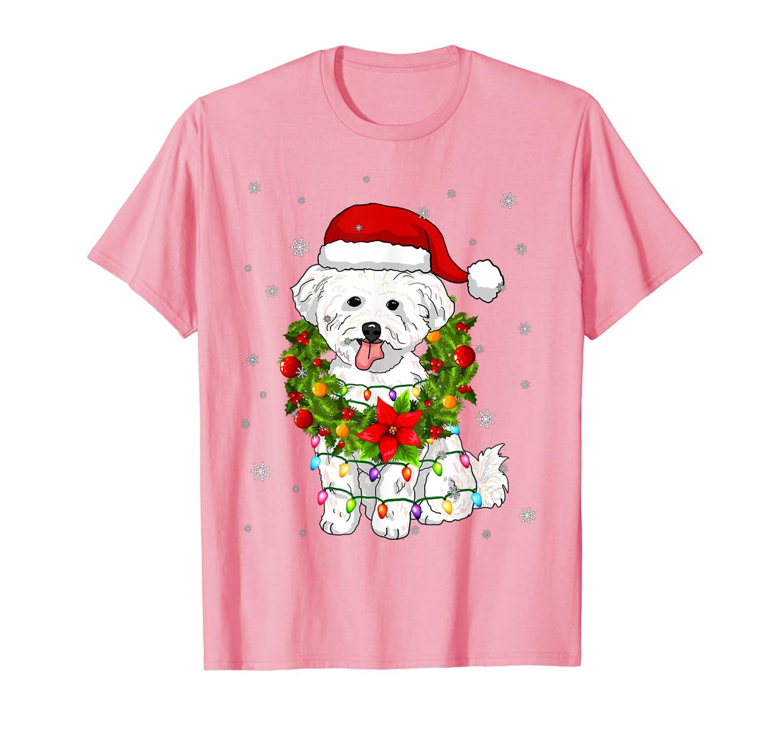 Santa Bichon Frise Dog with Christmas lights Gifts Xmas T-Shirt
