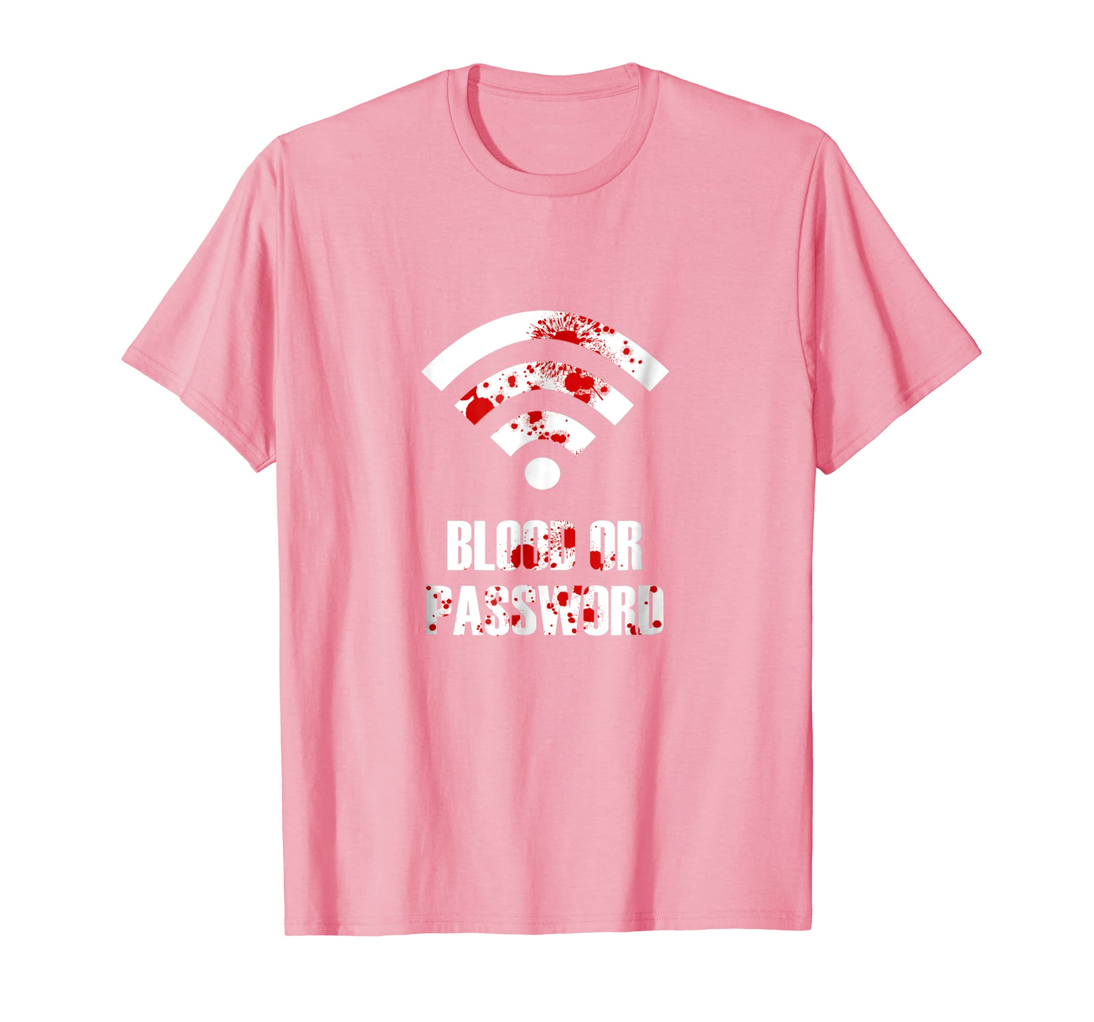 Adults Funny Halloween Tee Kids Blood or Password TShirt-Rose