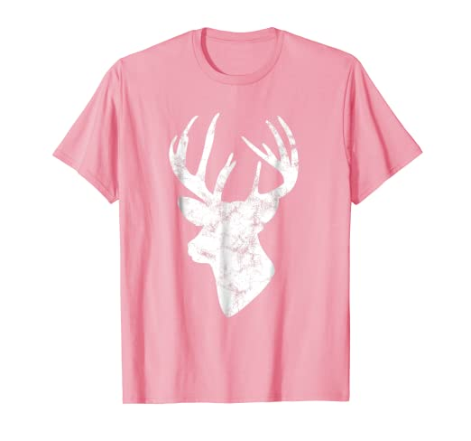 e7db1ff360bf Amazon.com: Womens Deer Head Shirt White Print Pink Graphic Tee Top ...