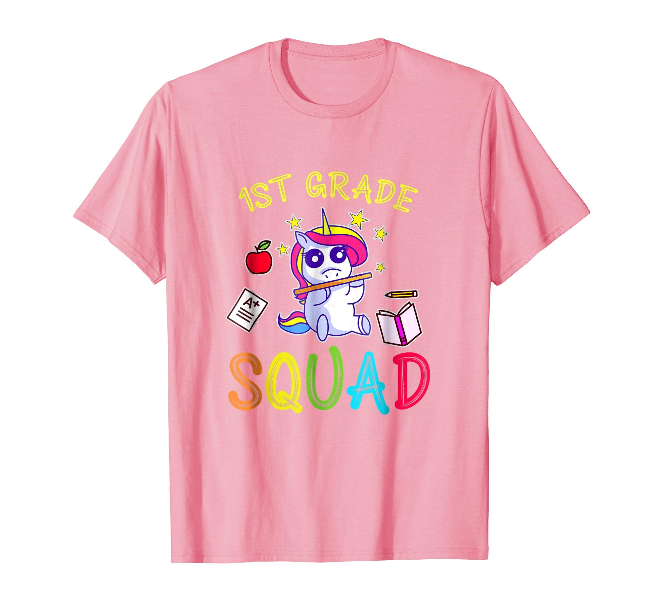 1st Grade squad teacher t shirt funny 1st day of school-Rose