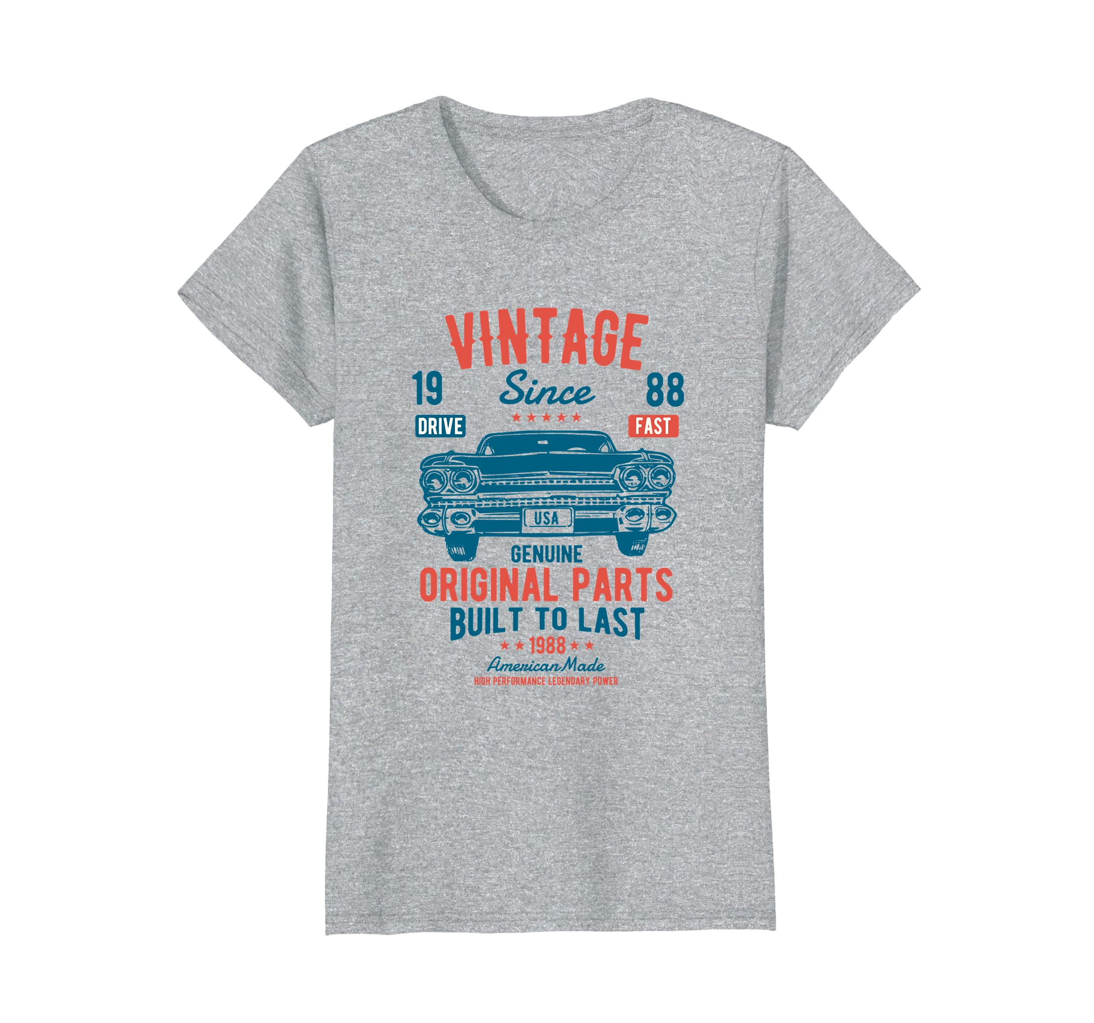 efe6a5374c9 Amazon.com  30th Birthday 1988 Classic Car American Muscle Men Tshirt   Clothing