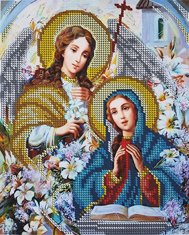 Bead Embroidery kit Annunciation Needlepoint Handcraft Tapestry kit Religion icon