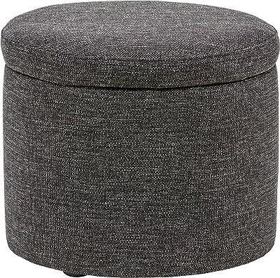 "Amazon Brand – Rivet Madison Modern Round Lift-Top Storage Tray Ottoman Pouf, 19.7""W, Caviar"
