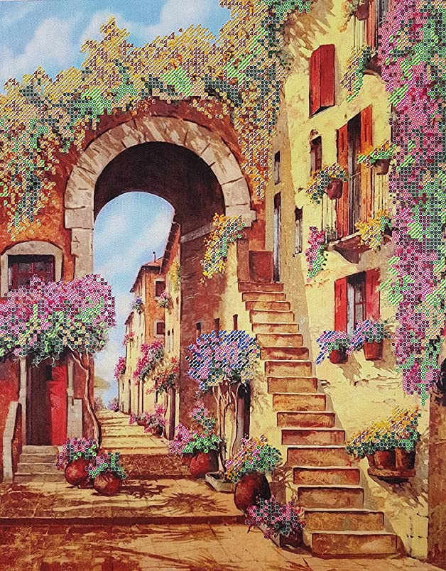 Bead Embroidery kit Summer City Beaded Stitching Landscape Needlepoint Handcraft Tapestry kit vq092836400
