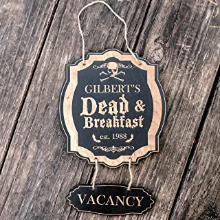CUSTOMIZED Dead and Breakfast - Black Halloween Door Sign
