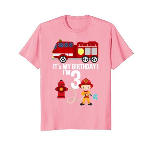 Its My Birthday Fire Truck Fireman 3 Boy T Shirt