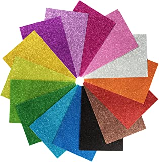 15 Pack Self Adhesive Glitter Foam Paper Sheets - 8