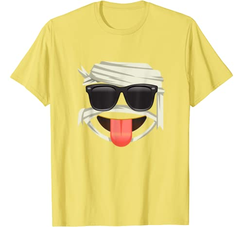 Funny Emoji Mummy Face Tongue Out Halloween Smiley Outfit T Shirt