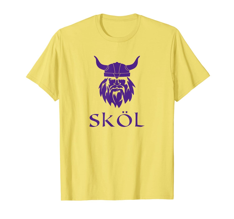 Skol T-Shirt For Viking Fans Helmet Scandinavian Warrior-TH