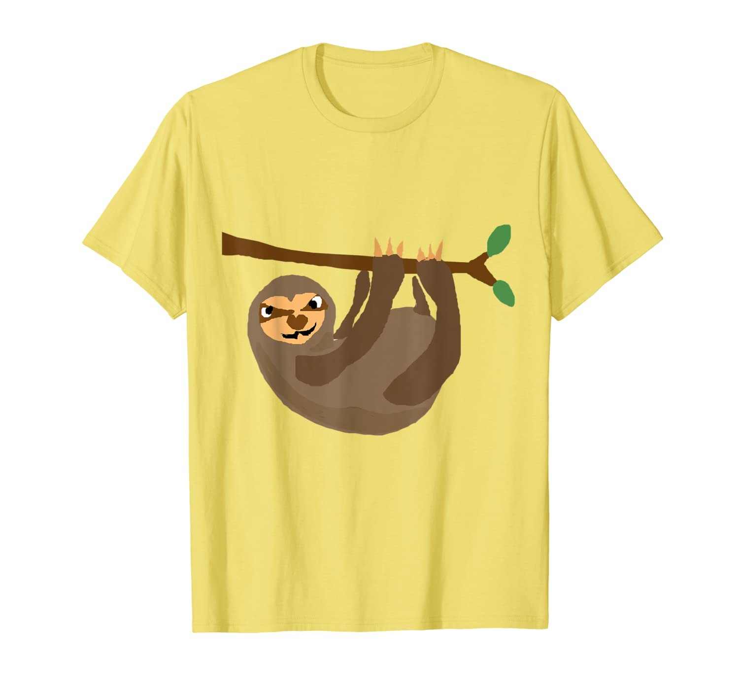 Smilealottees Funny Sloth Hanging from Tree Art T-Shirt-Yolotee