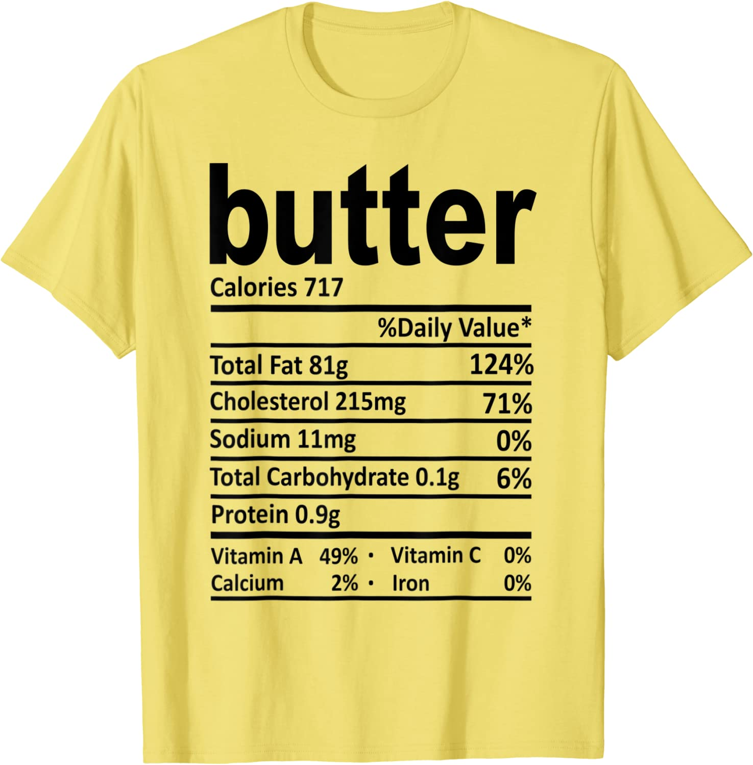 Butter Nutrition Facts 2020 Funny Thanksgiving Food Gift T-Shirt