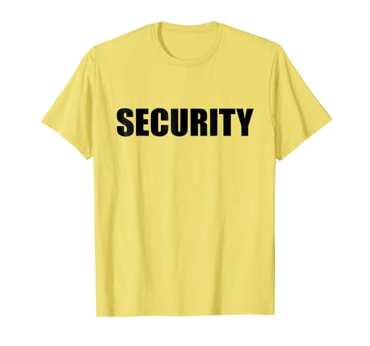 9f40ded3 Image Unavailable. Image not available for. Color: Security In Black Letter  On Yellow T Shirt One 1 Side Only