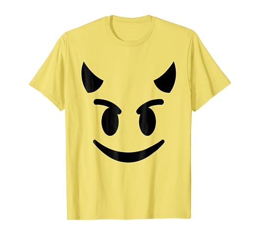 5242a341 Amazon.com: Halloween Emojis Costume Shirt Smiling Devil Face ...
