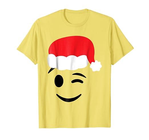 Amazon.com Christmas Emojis Shirt Winking Face Wink Santa