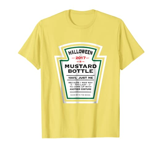 ae6c9b78 Image Unavailable. Image not available for. Color: Halloween Yellow Mustard  Label Bottle Costume t-shirt