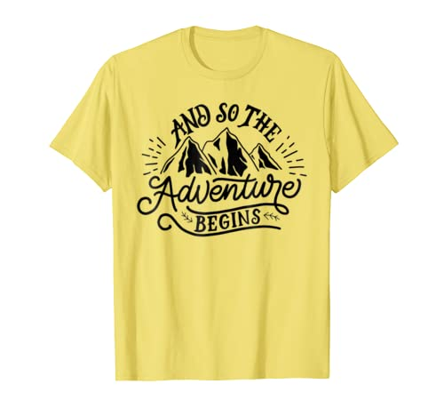52cd43707 Amazon.com: And So The Adventure Begins T-shirt Wild Hiking Camp Tee:  Clothing