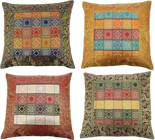 ANJANIYA 4 Banarsi 丝绸漂亮波西米亚风格印度波西米亚风格丝绸抱枕套嬉皮士装饰沙发沙发靠垫套拉链 16x 16 英寸风格 1