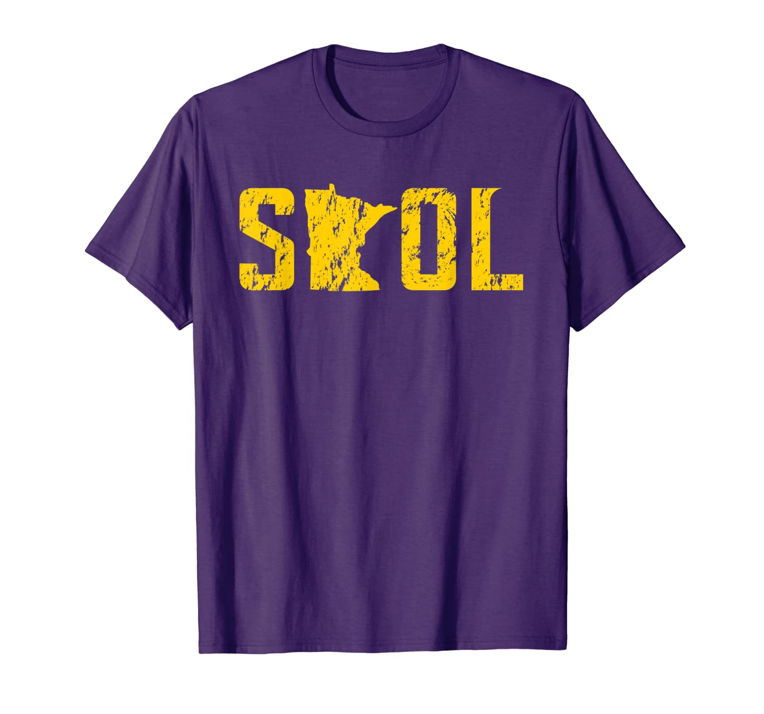 SKOL Helmet Distressed Viking Vintage Purple and Yellow Tee T-Shirt-TH