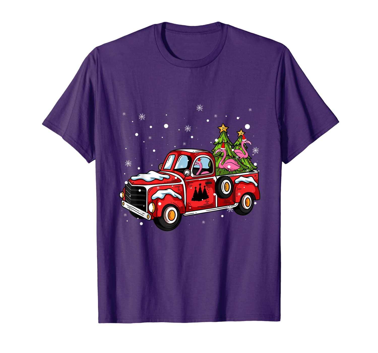 Flamingo Ride Red Truck Pick Up Christmas Tree Vintage Retro T-Shirt-TH