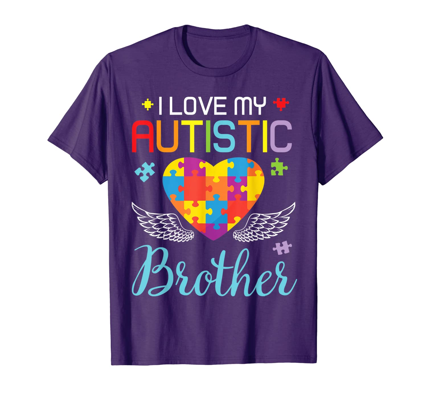 Big Autism Puzzle Heart I Love My Autistic Brother Sister T-Shirt
