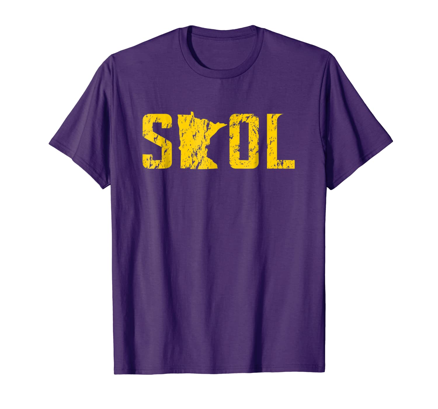 SKOL Helmet Distressed Viking Vintage Purple and Yellow Tee-TH