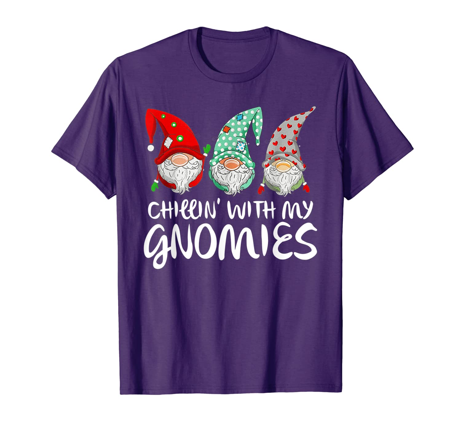 Chilling With My Gnomies Garden Gnome Funny Christmas Gifts T-Shirt-TH