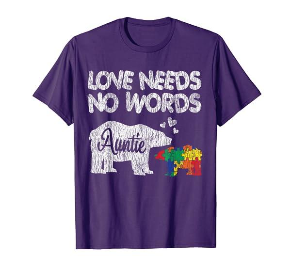 Autism Awareness Auntie Bear Family Autistic Kids Awareness T-Shirt