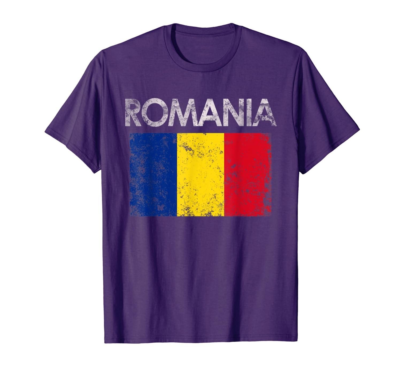 Vintage Romania Romanian Flag Pride Gift T-Shirt-TH