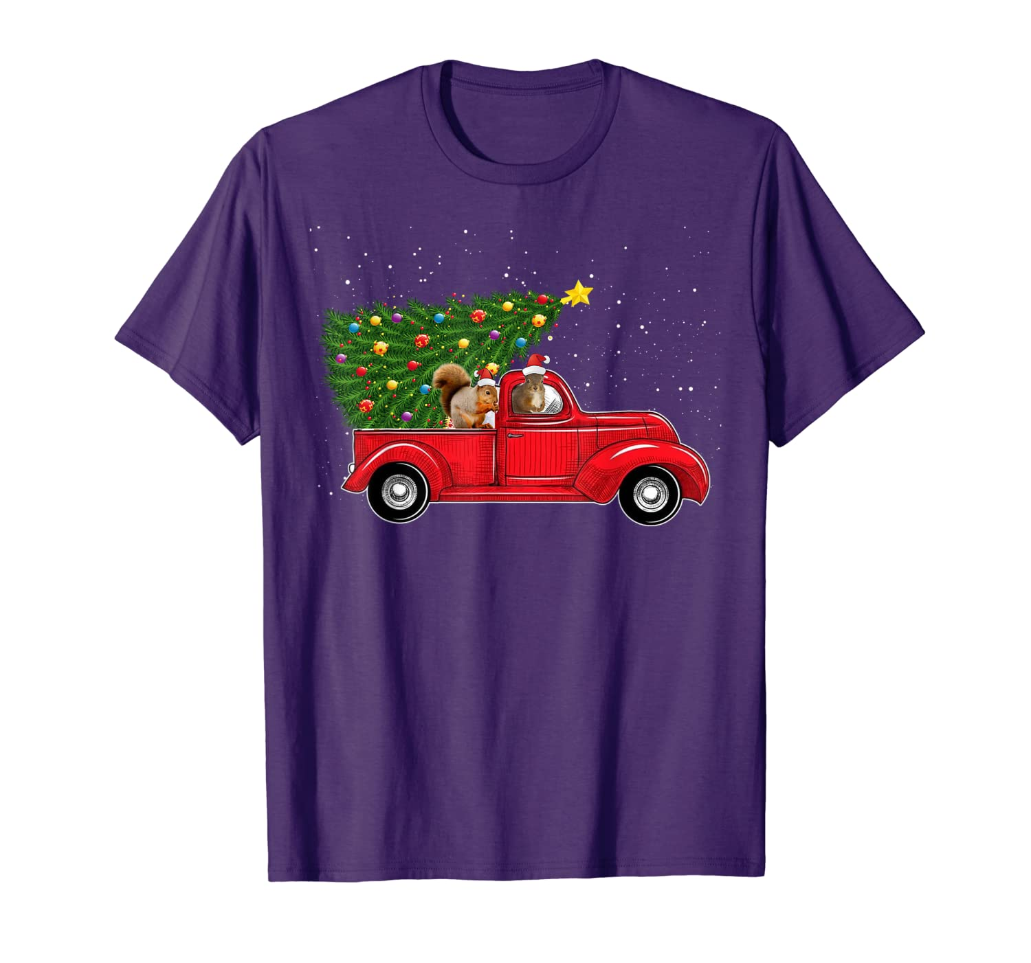 Squirrel Christmas On Red Car Truck with Xmas Tree Squirrel T-Shirt